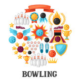Background with bowling items. Image for advertising booklets, banners and flayers.  Stock Images