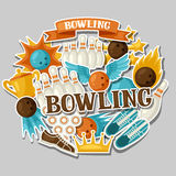 Background with bowling items. Image for advertising booklets, banners and flayers Royalty Free Stock Photo