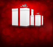Background with box. Red background with two box and circles Stock Photography