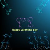 Background of boy and girl and hearts in valentine day vector illustrations stock illustration