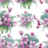 Background branch with pink cherry flowers. Seamless pattern. wa stock illustration