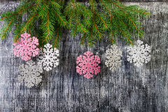 Background from branches of a fir and snowflakes Royalty Free Stock Photo