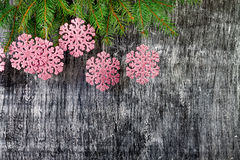 Background from branches of a fir and snowflakes Stock Photo