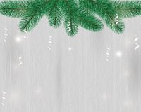 Background with branches on a wooden background. Design of holiday greeting cards, calendars, banners, posters, invitations. Merry Christmas and Happy New Year Stock Photography