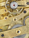 Background from brass clockwork of vintage watch Royalty Free Stock Photo