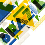 Background with Brazil in abstract geometric style. Design for covers, tourist brochure, advertising banner.  Vector Illustration
