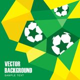 Background in Brazilian flag and football design. Abstract modern polygon background in Brazilian flag colors and football design,  illustration Royalty Free Stock Image