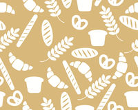 Background with bread and croissant. Vector seamless pattern Stock Image