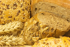 Background with bread and wholemeal pastry Stock Images