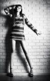background brick wall woman young Στοκ Εικόνες