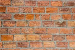 Background from a brick wall. Brickwork made of red large brick. Brickwork with neatly sealed seams Royalty Free Stock Images