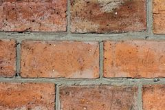 Background from a brick wall. Brickwork made of red large brick. Brickwork with neatly sealed seams Stock Photography