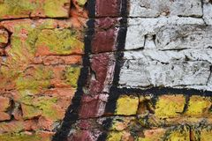 Brick wall painted in different colors Royalty Free Stock Image