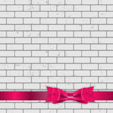 Background of Brick Wall Texture with Bow and Ribbon Vector Illu Stock Images