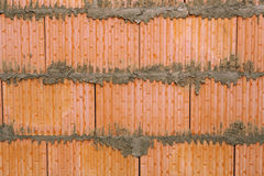 Background of brick wall texture in house under construction. Stock Photography