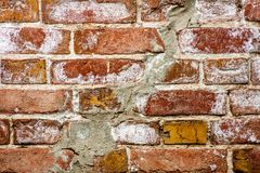 Background of brick wall texture. Red brick wall closeup background.  Royalty Free Stock Photo