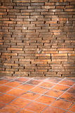 Background of brick wall and tile texture Stock Photo