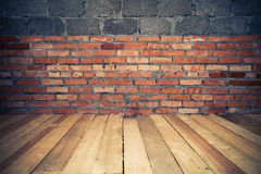 Background of brick wall and wooden floor Royalty Free Stock Photo