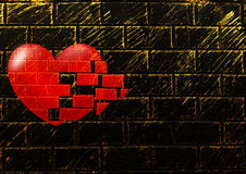 Background of bricks with the heart Stock Images