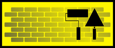 Background with bricks, roller and trowel. Yellow background with brick wall, roller and trowel Royalty Free Stock Photos