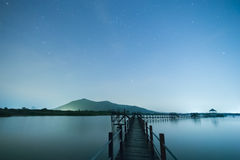 Background of bridge and stars. In blue sky and lake stock photos