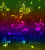 Background with bright butterly. And wave Royalty Free Stock Image