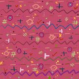 Background with bright cheerful childrens pattern on a pink bac. Kground with texture Royalty Free Stock Image