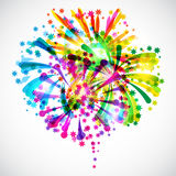 Background with bright colorful fireworks and. Salute Stock Images