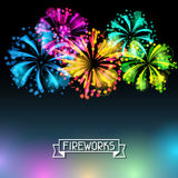 Background with bright colorful fireworks and Stock Photography