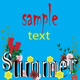 Background with bright colors summer blue with leaves, beautiful lettering vector illustration