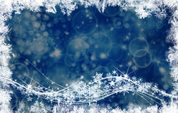 Background and bright flashes and snowflakes. Particles Stock Photo