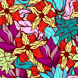 background with bright floral pattern of hand drawn doodle flowers. Good for wallpaper or textile Royalty Free Stock Photography