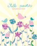 Background with bright flowers and birds and lettering Hello summer. Sunny summer background with bright flowers and birds and lettering Hello summer Royalty Free Stock Photos