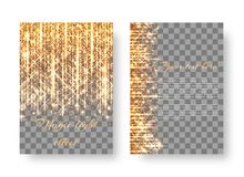 Background with bright golden rays. Leaflet template with falling golden sparkles Stock Photo