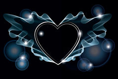 Background with bright heart. Background with bright abstract heart over dark Stock Image