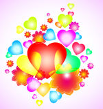 Background with bright heart and flowers Royalty Free Stock Photo
