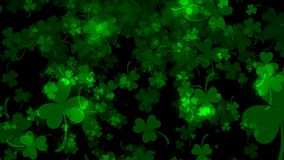 Background with bright leaved greenery clover and shamrock on black, 3d rendering. Backdrop Stock Photography