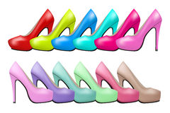 Background of Bright modern and vintage high heels Stock Photos
