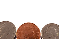 Background British coins. Stock Photo