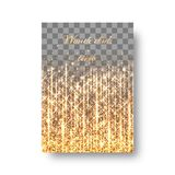 Festive background with golden sprays. Background of the brochure with glare of golden light and festive lights Stock Photography