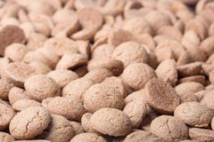 Background of brown ginger nuts, typical Dutch sweets at Sinterklaas event Royalty Free Stock Photos