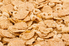 Background of brown oat cereals top view. Low angle background texture of pile of oat brown breakfast cereals isolated on white background selective focus Stock Images