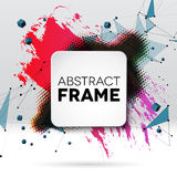 Background with brush stroke, blot, triangular grid and frame Stock Photo
