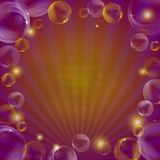 Background, bubbles and beams Stock Photo
