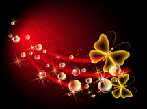 Background with bubbles and butterfly Royalty Free Stock Photography