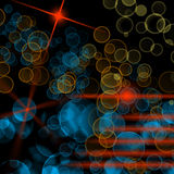 Background with bubbles and lights. Black background with colorful bubbles and lights Royalty Free Stock Image