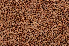 Background of buckwheat closeup. cereals. healthy food. porridge. place for inscription stock image