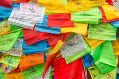 Background of Buddhist Tibetan prayer flags Royalty Free Stock Image