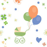 Background with a buggy and balloons Royalty Free Stock Image