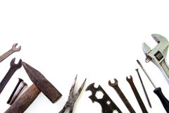 Background of building tools over white Stock Image